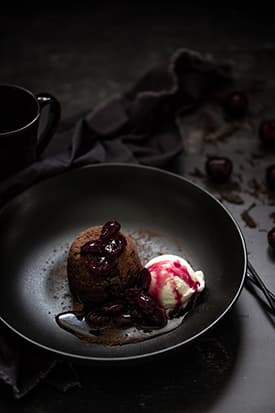 Boozy Chocolate, Cherry Pudding & Vanilla Bean Ice-cream