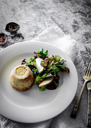 Double Baked Gorgonzola Soufflé, Grape, Apple & Walnut Salad