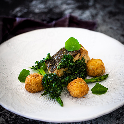 Pan-Roasted Jewfish, Potato, Fennel Croquettes, Kale Leaves, Asparagus & Miso Butter