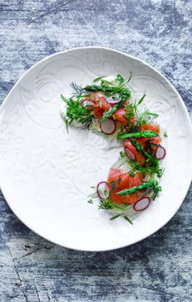 Smoked Ocean Trout, Fennel, Asparagus & Horseradish Creme