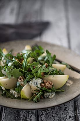 Pear & Rocket Salad, Gorgonzola & Roasted Walnuts