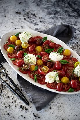 Mixed Tomato, Burrata & Basil Salad