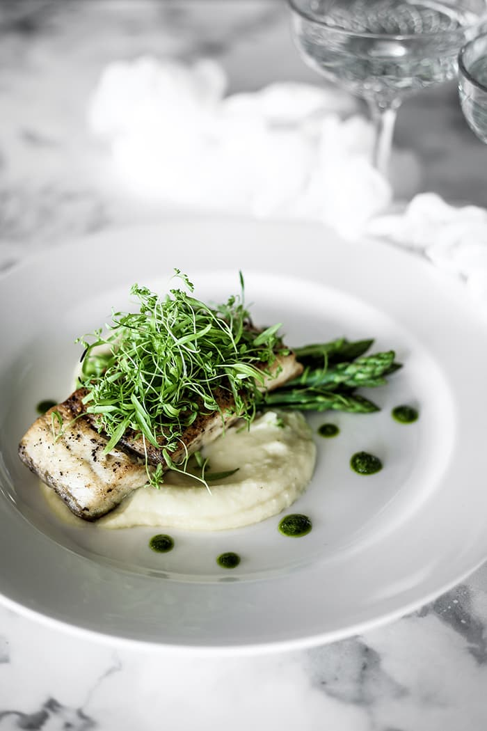 Barramundi Fillet, Fennel, Potato Puree, Asparagus & Salsa Verde