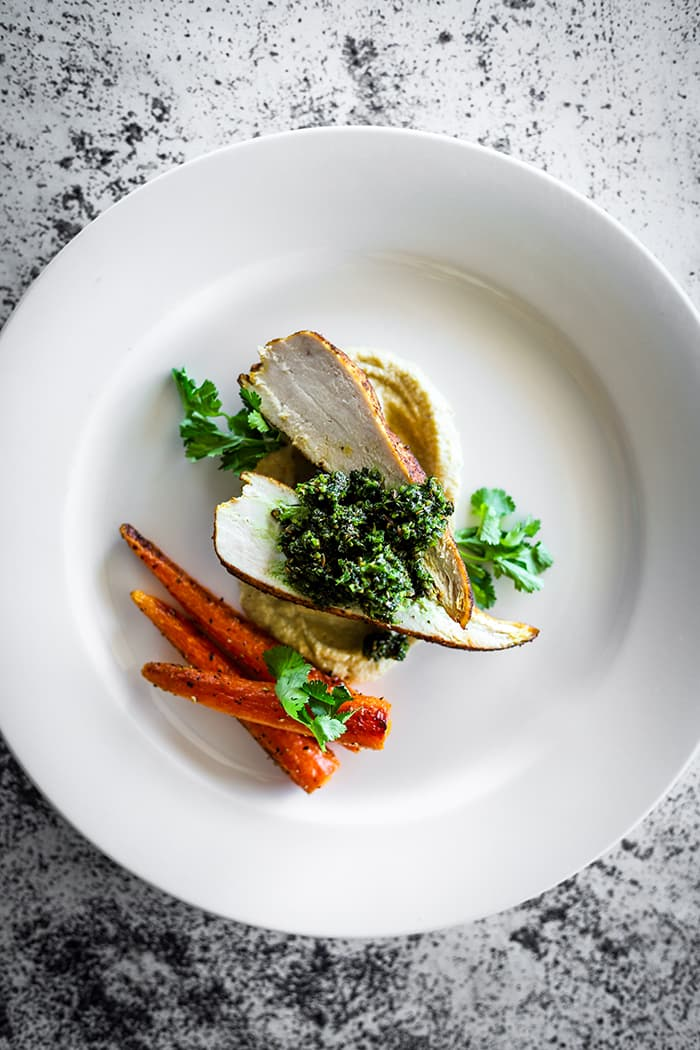Ras el Hanout Chicken, Spiced Eggplant Puree, Roasted Carrots & Green Harissa