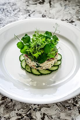Crab Tian, Cucumber and Wasabi, Avocado Puree