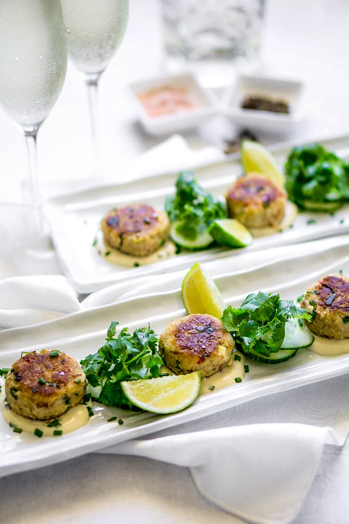 Chilli Crab Cakes, Cucumber and Lime Aioli