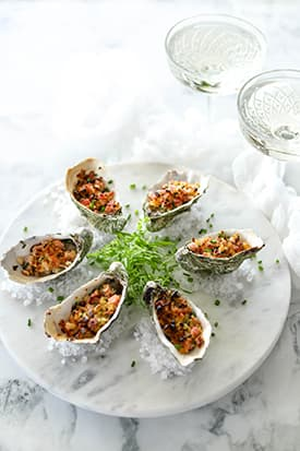Baked Oysters, Bacon Pine Nut Crumb
