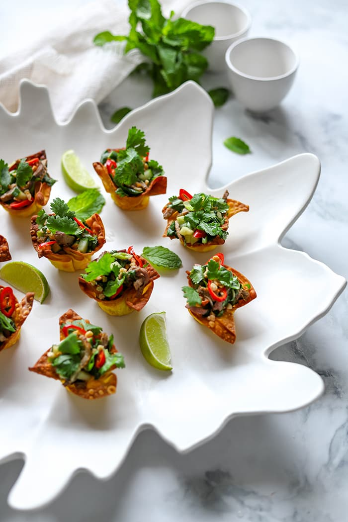 Asian Duck Salad Wonton Cups