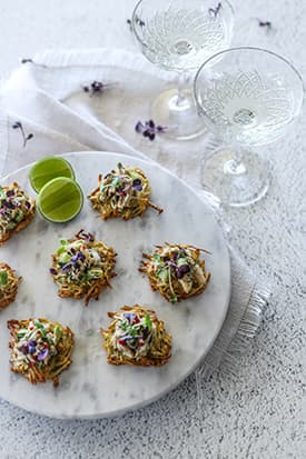 Potato Rosti Canapes with Crab, Chilli and Lime