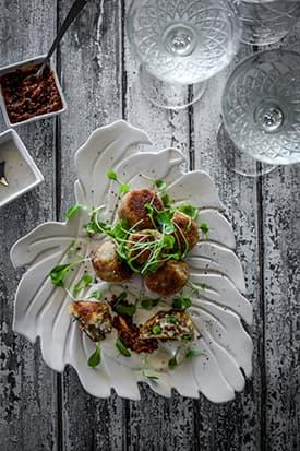 Prosciutto, Pea & Pecorino Arancini with Sundried Tomato Pesto Aioli