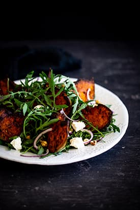 Spiced Roast Pumpkin Salad, Rocket, Persian Feta & Hazelnuts
