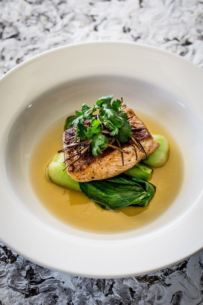 Salmon with Ginger and Lemongrass Broth