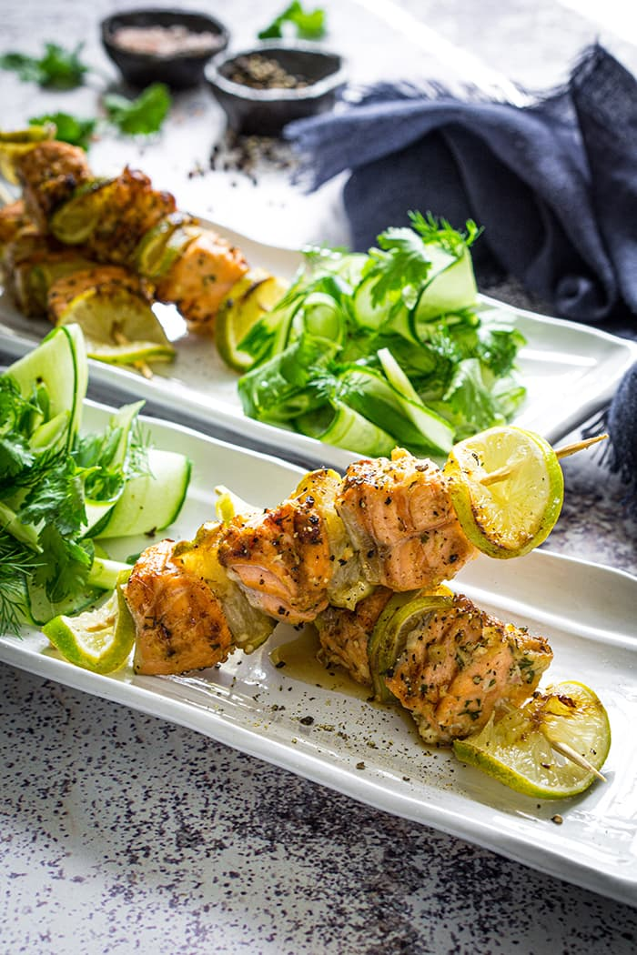 Grilled Salmon Skewers, Lemongrass, Lime & Cucumber Salsa