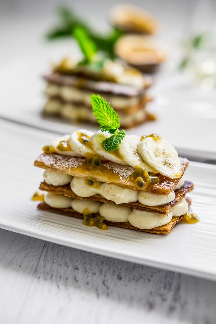 Banana and Passionfruit Mille-Feuille