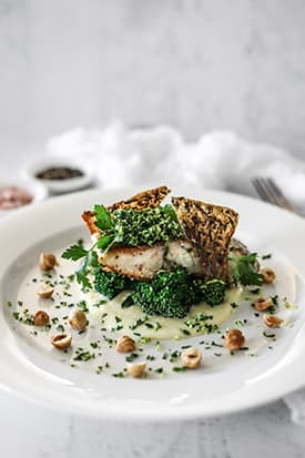 Crispy Skin Barramundi, Cauliflower Leek Puree, Broccolini & Lemon Gremolata