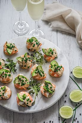 Prawn, Avocado Canapes with Chipotle Aioli