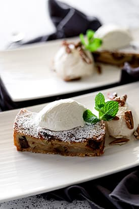 Date & Apple Tart, Roasted Pecans & Vanilla Bean Ice-cream
