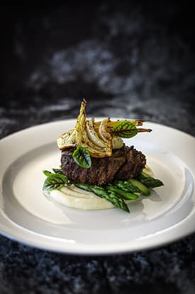 Beef Fillet, Potato Puree, Roasted Fennel, Asparagus, Smoked Garlic & Thyme Butter