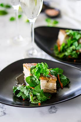 Crispy Pork Belly, Asian Salad & Red Wine Caramel
