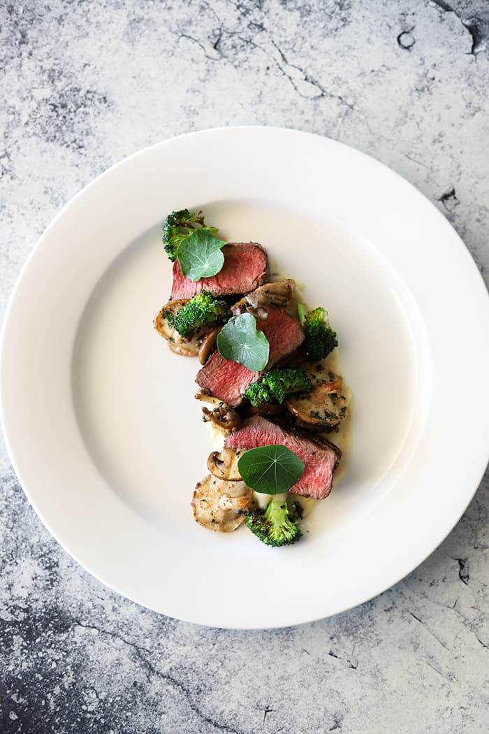 Beef Fillet, Exotic Mushrooms, White Onion Puree & Charred Broccoli