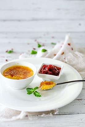 Orange & Cardamom Crème Brulee & Rhubarb Compote