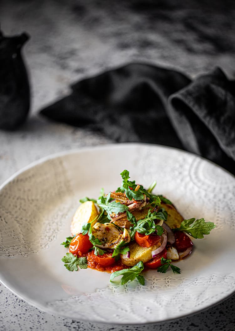 Squid Salad, Roast Tomato, Potato Capsicum Chilli Relish