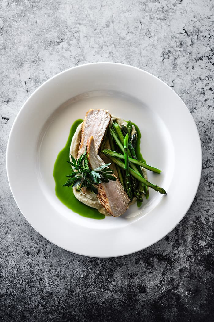 Chicken Breast, Spiced Eggplant Puree, Asparagus & Parsley Oil