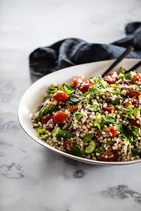 Pearl Cous Cous Salad, Tomatoes, Baby Cucumber, Lemon & Herbs