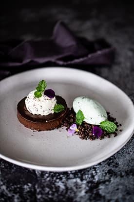Dark Chocolate Delice, Chocolate Soil & Mint Ice-cream
