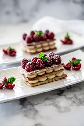 Raspberry Mille-Feuille & Crème Patissiere