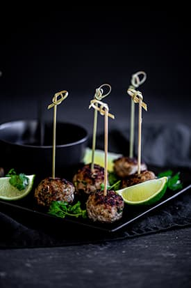 Oriental Pork Meatballs, Soy & Garlic Dipping Sauce