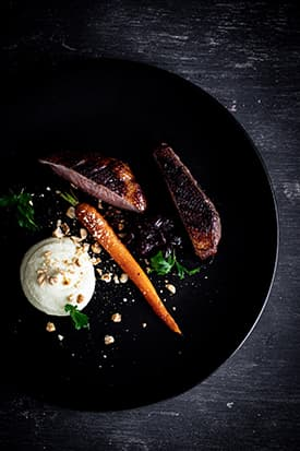 Cherry Glazed Duck Breast, Celeriac Puree, Roasted Carrot & Hazelnuts